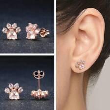 Women's Pink CZ Pet Cat Dog Paw Print Silver Gold Stud Pierced Earrings Gift