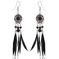Bohemia Vintage Women Black Feather Beads Dangle Ear Stud Drop Earrings Jewelry