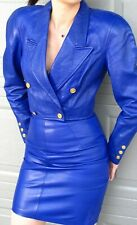 BLUE LEATHER DRESS  SUIT - NORTH BEACH  JACKET and  SKIRT -size 4-6