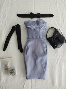 Tonner Joe Tai Fashion Blue Satin Halter Dress with Purse Jewelry Gloves