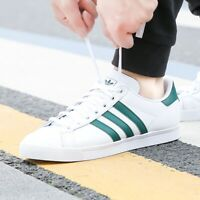 adidas Mens Originals Coast Star top leather trainers white/green