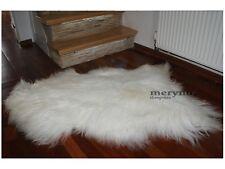 Icelandic White Sheepskin Rug Long Soft Natural Wool Medium