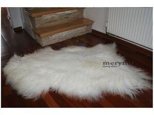 Real Icelandic white sheepskin rug long soft natural wool