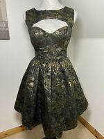 Rare London Size 8 Dress Fit & Flare Black And Gold Fit And Flare Shiny Short