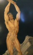 "Vintage Erotic fantasy art Gay interest painting, signed' Original ..51""x 27"""