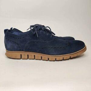 Cole Haan Men's Grand OS Wingtip Shoe Blue Suede Leather 12 M
