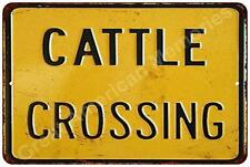 Cattle Crossing Vintage Look Reproduction Metal Sign 8x12 8122282