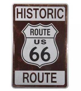 """New 12"""" x 8"""" Historic Route 66 Maroon White Beveled Tin Metal Sign Wall Decor"""