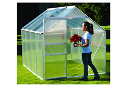 Aluminum Greenhouse 6 ft. x 8 ft. Gardening Flower Yard All-Weather Sliding Door