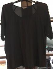 Ladies Jacqui E Corporate Office Black Blouse Shell Top Size 14