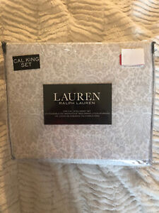Ralph Lauren Cal California King Extra-Deep Sheet Set Floral Taupe/Tan/Beige