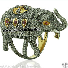Vintage Estate 8.72Cts Rose Cut Diamond Jewelry Ruby Silver Lovely Elephant Ring