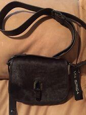Via Spiga Jennifer Haircalf Leather Crossbody Brown Designed In Italy $228 NWT