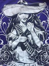 Org.AZILAN Pin Up Girl Loaded With Bullets Guns N Roses Made In USA Men TShirt L