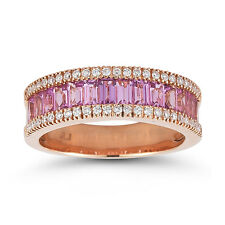 18ct Rose Gold 2ct Pink Sapphire 0.23ct Diamond Ring Size N -RRP £2895 - NEW