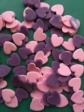 100 x edible fondant icing hearts - cake topper pink/purple