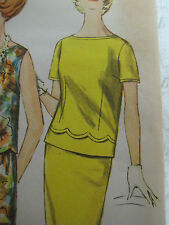 Vintage 60's Simplicity TWO-PIECE DRESS w/ SCALLOPED BLOUSE Sewing Pattern Women