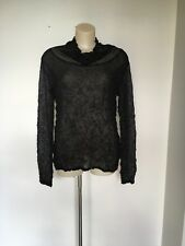 Issey Miyake Fete Black Sheer Blouse Top Crinkled and Netting 2 fits 3 or 4