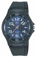 Q&Q VP58J003Y By Citizen Black Resin Blue Dial Analog Sport Number Round Watch