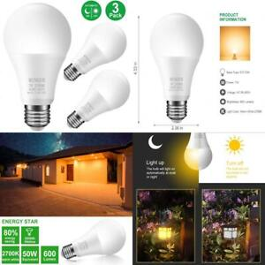 Sensor Light Bulbs Dusk to Dawn Bulb,Minger 7W Smart 3 Pack, White