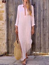 UK NEW Women Boho Baggy Loose Long Sleeve Linen Kaftan Maxi Dress Plus Size 6-20
