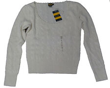 Polo Ralph Lauren Rugby Womens Cashmere Wool Angora Cable Knit Metallic Sweater