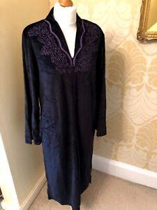 NEW BHS Black Velvet Ladies Nightdress/Gown Zip Front RRP £35 8-10 SALE