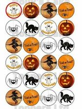 HALLOWEEN PUMPKIN WITCH SPIDER CUP CAKE Rice Paper Photo Toppers x24