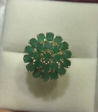 14k Solid Yellow Gold Cluster Ring3.89GM/With Natural Oval Emerald 6.44CT