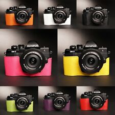 Genuine Real Leather half Camera Case Bag Cover for Olympus OM-D EM10 II 8 color