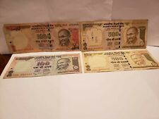 India 2100 Rupees 4 notes F to Vf