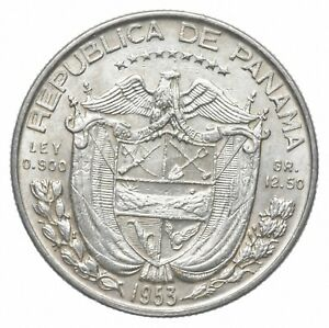 Better Date - 1953 Panama 1/2 Balboa - SILVER *732