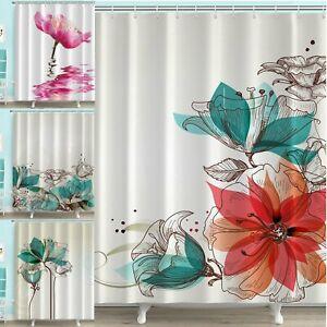 Duschvorhang Badwannenvorhang Badezimmer Wasserdicht Blume Tuschmalerei