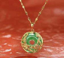 Auspicous Dragon & Phoenix Jade Gold Necklace