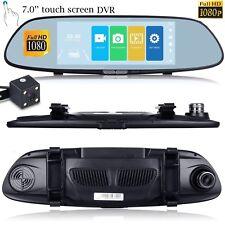 "7"" HD 1080P Auto Dash Kamera Dual Cam Objektiv Rückspiegel DVR Recorder 170°"