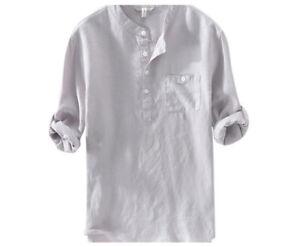 Mens Casual Long Sleeve Linen Blouse V Neck Henley Tops Lapel Button Up T Shirts