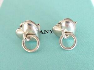 TIFFANY & CO Sterling Silver Heart Door Clip On Earrings