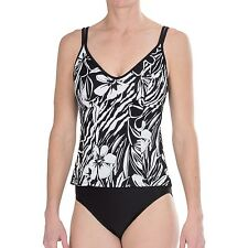 NEW MIRACLESUIT SWIMSUIT Sz 10 TANKINI Malibu $150 RV Black White 2 Piece