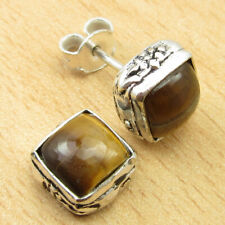 Silver Plated Brand New Jewelry Amazing Stud Earrings, Exclusive Tiger'S Eye