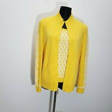 St John Womens Cardigan Shell Set PM Yellow Santana Knit Zip Up Jacket Trellis