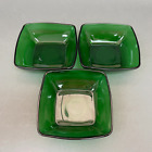 Fire King Anchor Hocking Fruit Dessert Square Bowls Charm Forest Green Glass - 3