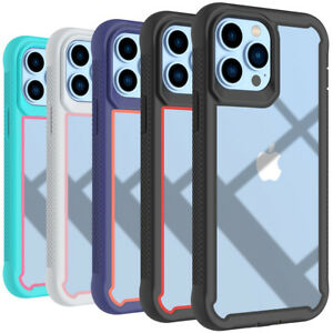 For iPhone 13 Pro Max 12 11 XR 7 8 Case Hybrid Heavy Duty Shockproof Clear Cover