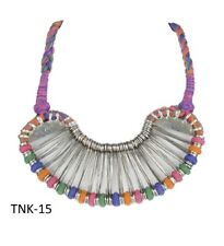 Handmade Traditional Silver Oxidized Multi-Color Statement Necklace Jewelry AU