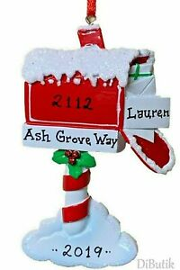 NAME PERSONALIZED ORNAMENT 2020 Mailbox New Home Apartment Christmas Tree Gift