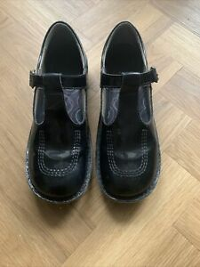 Kickers T Bar Girls Junior Kids Patent Black Buckle Leather School Shoes Size 5
