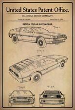 US Patent Auto Car Oldtimer DeLorean 1986 Blechschild Schild Tin Sign 20 x 30 cm
