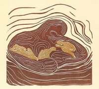 Original Woodcut Print Lullaby Mother Earth Hugging Sleeping Golden Children