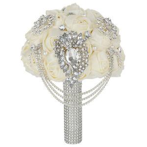 Bridal Flower Wedding Bouquet Crystal Pearls Ivory Satin Rose Brooch Handmade