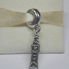 New Authentic Pandora Charm Big Ben London Dangle 791080 W Tag & Suede Pouch
