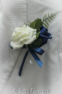 Double Buttonholes In Navy Blue and Ivory wedding flowers corsage